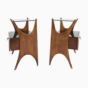 Tables de Chevet en Noyer et Verre Noir, Italie, 1950s, Set de 2
