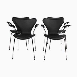 Model 3207 Chairs with Armrest by Arne Jacobsen for Fritz Hansen, 2016, Set of 4