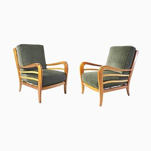 Mid-Century Armchairs in Walnut by Paolo Buffa for Framar, Italy, 1940s, Set of 2