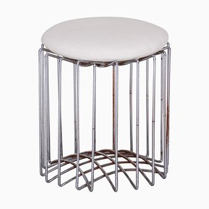 Bauhaus White Chrome & Leather Round Stool, 1960s
