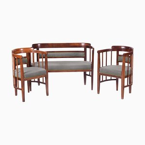 Art Nouveau Green Beech Living Room Set by Josef Hoffmann, 1910s, Set of 3