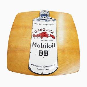 Vintage Enamel Sign Gargoyle Mobiloil BB, 1970s
