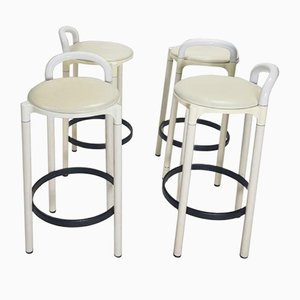 Vintage Italian White Barstools by Anna Castelli Ferrieri for Kartell, 1970s, Set of 4