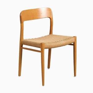 Danish Oak Model No. 75 Dining Chair from J. L. Møllers Møbelfabrik, 1980s