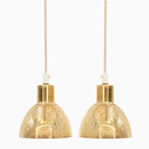 Small Mid-Century Modern Scandinavian Pendant Lamps in Brass by Hans-Agne Jakobsson for Markaryd, Set of 2
