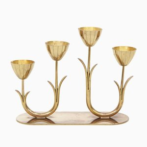 Mid-Century Modern Candleholder in Brass by Gunnar Ander for Ystad Metall, 1960s