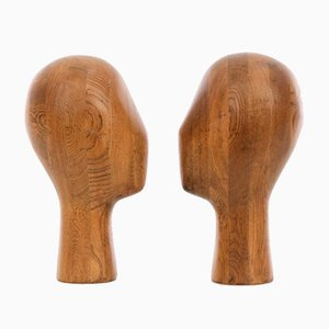 Vintage Wood Mannequin Heads, 1960s, Set of 2