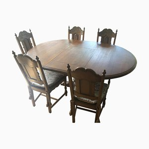Wooden Dining Table & Chairs Set, Set of 6