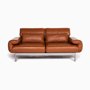 Cognac Brown Leather Plura 2-Seat Sofa from Rolf Benz