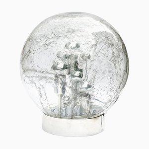 Lámpara de mesa o de pie grande esférica de metal cromado y burbuja de vidrio burbuja de Doria Leuchten, años 70