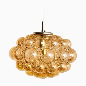 Amber Bubble Glass Pendant Lamp by Helena Tynell, 1960s
