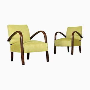 Italian Beech and Springs Armchairs, 1940s, Set of 2