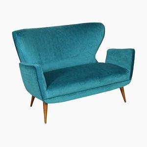 Sofa mit argentinischen Federn, Schaumstoff, Samt & Holz, 1950er