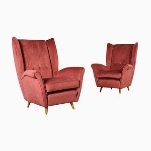 Italian Foam, Springs, Wood & Velvet Armchairs, 1950s, Set of 2