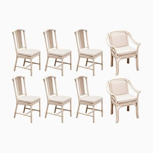 White Colored Faux Bamboo Dining Table & Chairs Set from Mcguire, 1980s, Set of 8