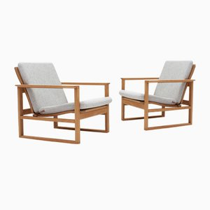 2256 Oak Sled Lounge Chairs by Børge Mogensen for Fredericia, 1970s, Set of 2