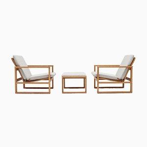 2256 Sessel aus Eiche mit Fußhocker von Børge Mogensen für Fredericia Stolefabrik, 1950er, 3er Set
