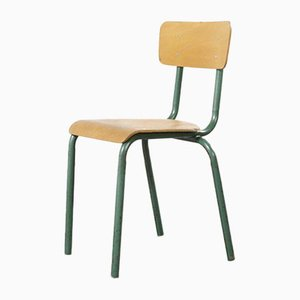 Vintage French Aqua Model 511 Stacking School or Dining Chairs from Mullca, 1950s, Set of 6