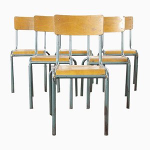 Vintage French Aqua Model 510/1 Stacking School or Dining Chairs from Mullca, 1950s, Set of 6