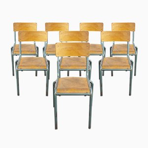 Vintage French Aqua Model 510/1 Stacking School or Dining Chairs from Mullca, 1950s, Set of 8