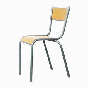 Vintage French Aqua Model 510 Stacking School or Dining Chairs from Mullca, 1950s, Set of 6