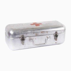 Caja de raciones de supervivencia original en rojo de la Cruz Roja, años 60
