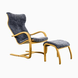Danish Modern Sculptural Lounge Armchair with Ottoman, Set of 2
