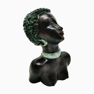 Sculpture Féminine Art Déco en Céramique Vernie, 1920s