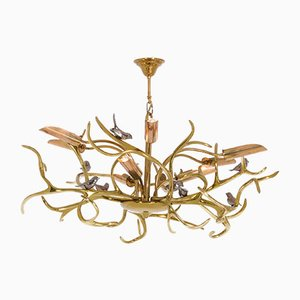 Brass Branches Chandelier by Willy Daro, 1970s