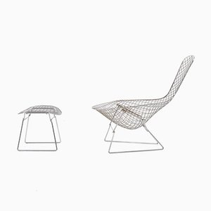 Bird Chair with Ottoman by H. Bertoia for Knoll International & De Coene, 1950s, Set of 2