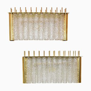 Glass and Brass Tubi Tempio Wall Lights, Set of 2