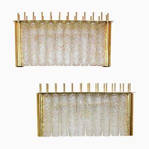 Lampade da parete Tubi Tempio in ottone e vetro, set di 2