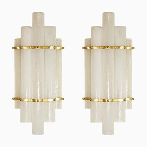 Blown Murano Glass Tube and Brass Wall Lights, 1980s, Set of 2