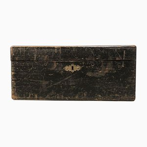 Black Wooden Box with Initials, 1900s