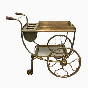 French Brass and Wood Drinks Trolley, 1950s