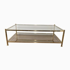 Large French Brass Coffee Table, 1970s