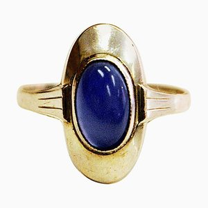 Scandinavian Blue Oval Stone Silver Ring, 1950s
