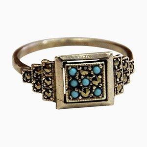 Silberner skandinavischer Ring mit kleinen blauen und klaren Steinen, 1970er