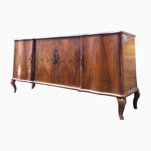 Italian Chippendale Veneered Walnut Sideboard with 4 Doors, 1950s