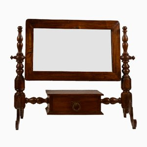 Antique Italian Walnut Dressing Table Mirror with Drawer
