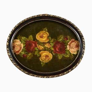 Italian Still Life of Flowers Oval Frame, 1930s