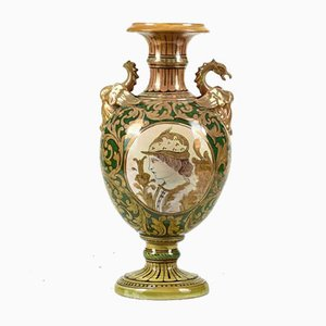Luster Vase with Grotesque Italian Decoration, 1900s