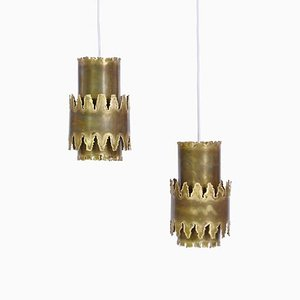 Brutalist Brass Pendant Lamp by Svend Aage Holm Sørensen for Holm Sørensen, 1960s, Set of 2