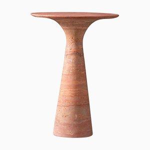 Travertino Rosso Beistelltisch aus Raffiniertem Marmor
