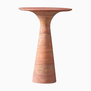 Travertino Rosso Refined Marble Side Table