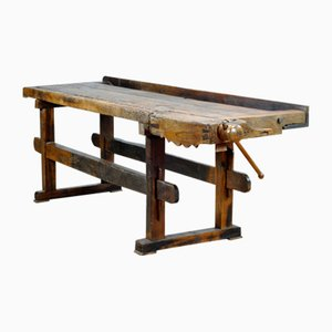 Antique Oak Carpenters Workbench, 1900s