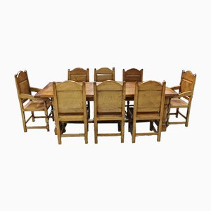 Large Golden Oak Refectory Table & Chairs Set, 1980s, Set of 9
