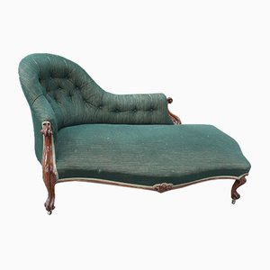 Antique Mahogany Chaise Lounge with Buttoned Green Back