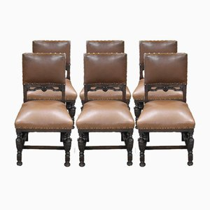 Oak and Brown Leather Dining Chairs, 1940s, Set of 6