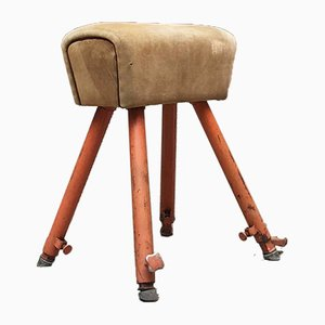 Vintage Italian Iron and Suede Pommel Horse, 1960s